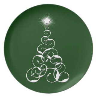 White Christmas Tree Art Dinner Plate
