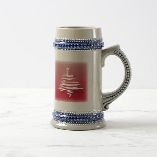 White Christmas Tree Beer Stein