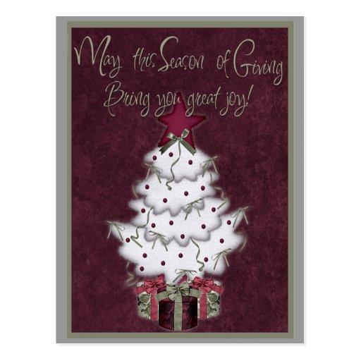white christmas tree card post card