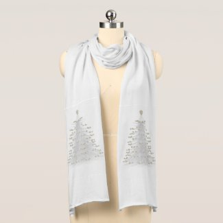 White Christmas Tree Holiday Jersey Scarf