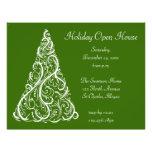 White Christmas Tree Holiday Open House Invitation Custom Flyer