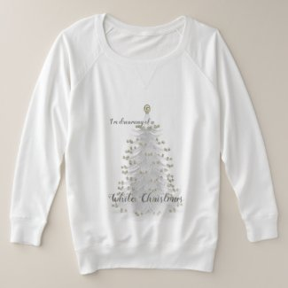 White Christmas Tree Holiday PLUS SIZE Knit Top