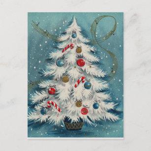 Christmas postcard Snow Maiden postman Snegurochka snow on the Christmas trees Soviet Vintage greeting postcard Holiday New Year card