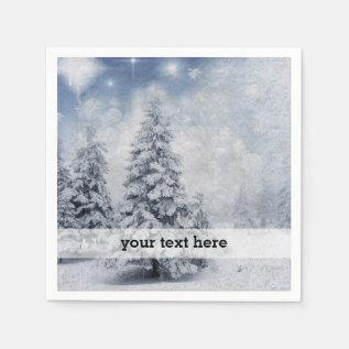 White Christmas Tree Napkin at Zazzle
