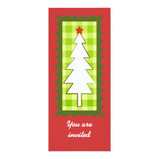 """White Christmas tree on a green checkered pattern 4"""" X 9.25"""" Invitation Card"""