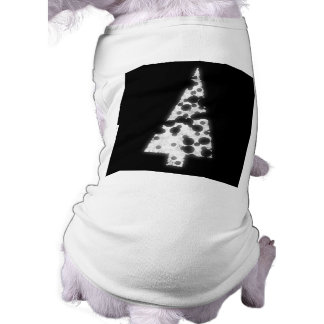 White Christmas Tree. On black background. Dog Tee