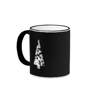 White Christmas Tree. On black background. Mug