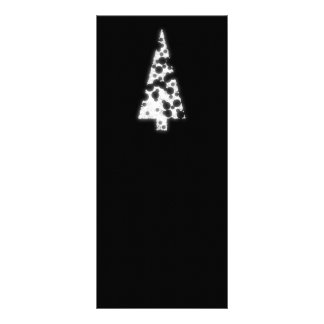 White Christmas Tree On black background Custom Rack Card