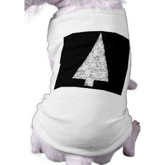 White Christmas Tree On Black Stylish Dog Tee Shirt