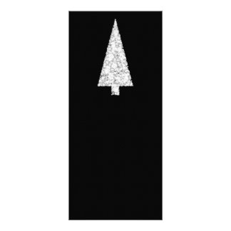 White Christmas Tree On Black Stylish Custom Rack Cards