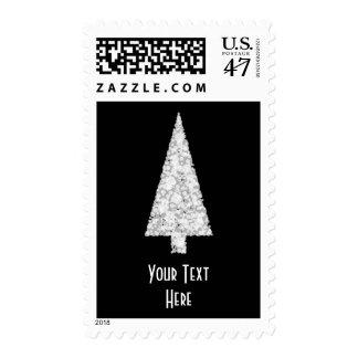 White Christmas Tree. On Black. Stylish. Stamp