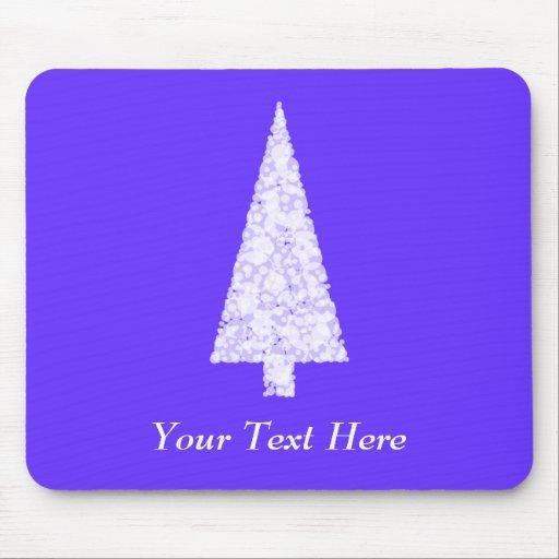 White Christmas Tree. On Blue - Purple. Mouse Pad