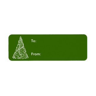White Christmas Tree on Green Gift Tag Label