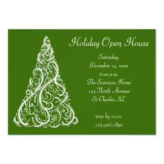 White Christmas Tree on Green Holiday Open House Card