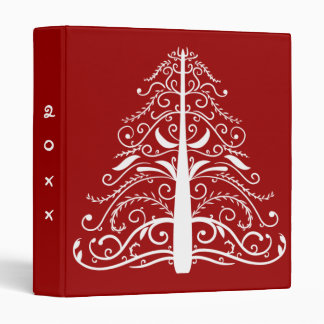White Christmas Tree on Red Dated Binder