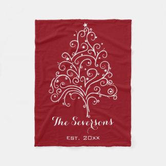 White Christmas Tree on Red Fleece Blanket