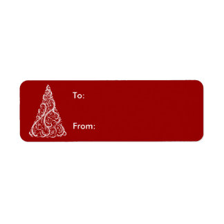White Christmas Tree on Red Gift Tag Label