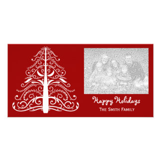 White Christmas Tree on Red Happy Holidays Card