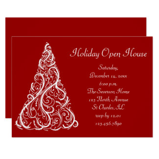 White Christmas Tree on Red Holiday Open House Card