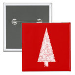 White Christmas Tree. On Red. Modern. 2 Inch Square Button