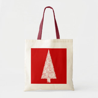 White Christmas Tree. On Red. Modern. Tote Bags