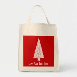 White Christmas Tree. On Red. Modern. Bag
