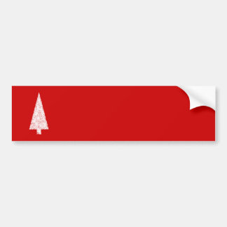 White Christmas Tree. On Red. Modern. Bumper Sticker