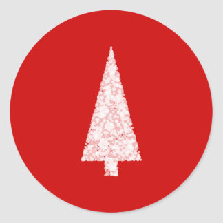 White Christmas Tree. On Red. Modern. Classic Round Sticker