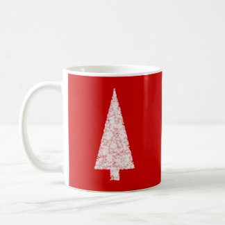 White Christmas Tree. On Red. Modern. Coffee Mug