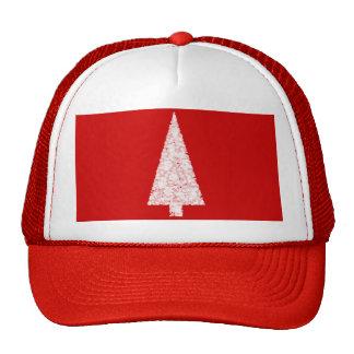 White Christmas Tree On Red Modern Trucker Hat