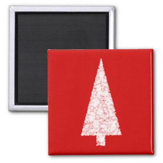 White Christmas Tree. On Red. Modern. Magnet
