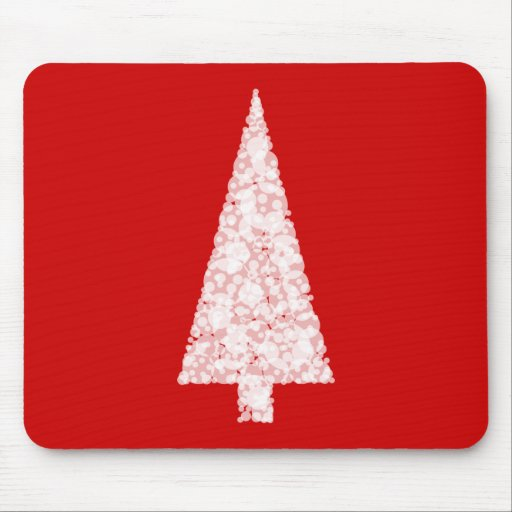 White Christmas Tree. On Red. Modern. Mouse Pads