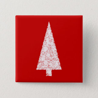 White Christmas Tree. On Red. Modern. Pinback Button