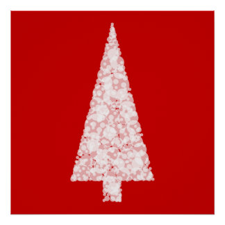 White Christmas Tree. On Red. Modern. Poster