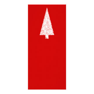 White Christmas Tree On Red Modern Rack Card Template