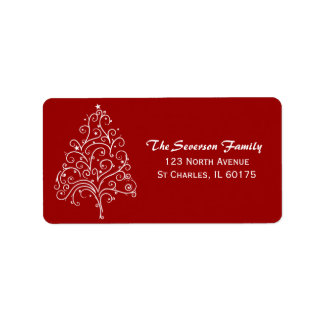 White Christmas Tree on Red Return Address Label
