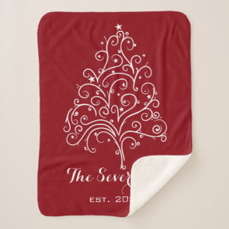 White Christmas Tree on Red Sherpa Blanket