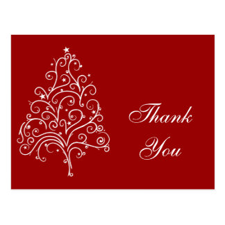 White Christmas Tree on Red Thank You Postcard