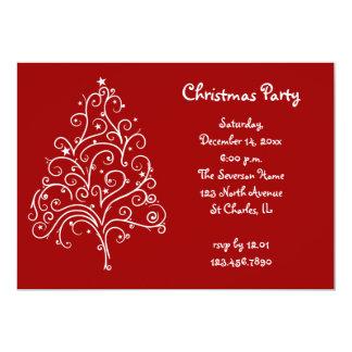 "White Christmas Tree Party Invitation 5"" X 7"" Invitation Card"