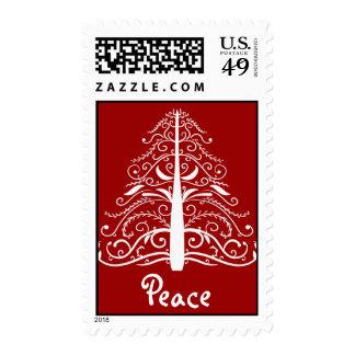 White Christmas Tree Peace Postage Stamp
