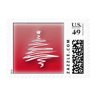 White Christmas Tree Postage Stamp