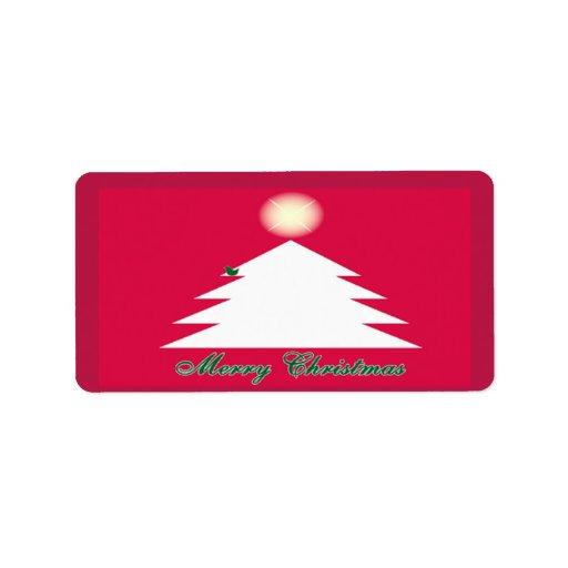 White Christmas Tree Sticker SM Custom Address Label