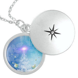 White christmas tree with a light effect custom necklace