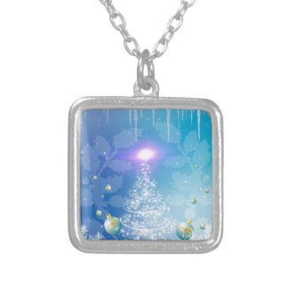 White christmas tree with a light effect, necklace