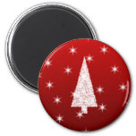 White Christmas Tree with Stars on Red. 2 Inch Round Magnet
