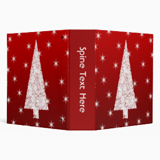 White Christmas Tree with Stars on Red. 3 Ring Binder