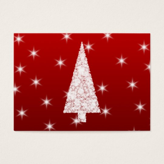 White Christmas Tree with Stars on Red. Business Card