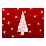 White Christmas Tree with Stars on Red. Business Card Templates