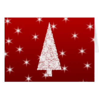 White Christmas Tree with Stars on Red. Card
