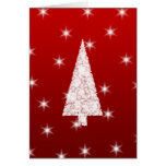 White Christmas Tree with Stars on Red. Greeting Card